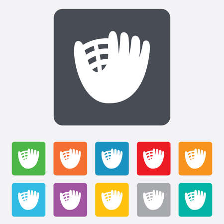 mitt: Baseball glove or mitt sign icon. Sport symbol. Rounded squares 11 buttons. Vector