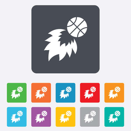 Basketball fireball sign icon. Sport symbol. Rounded squares 11 buttons. Vector Vector