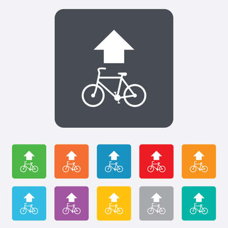 straight path: Bicycle path trail sign icon. Cycle path. Up straight arrow symbol. Rounded squares 11 buttons. Vector
