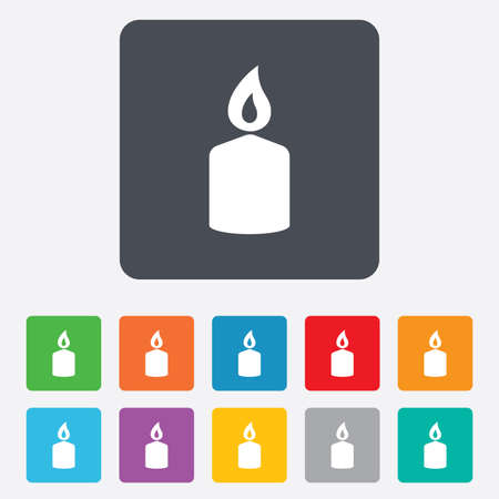 candles: Candle sign icon. Fire symbol. Rounded squares 11 buttons. Vector Illustration