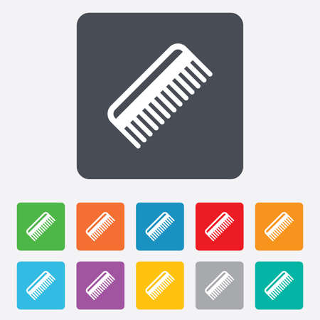 comb hair: Comb hair sign icon. Barber symbol. Rounded squares 11 buttons.  Illustration