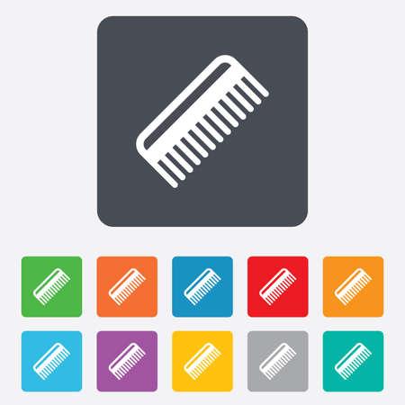 comb hair: Pettine capelli sign icon. Simbolo Barber. Piazze arrotondati 11 pulsanti.