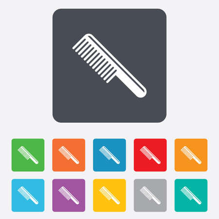 comb hair: Comb hair sign icon. Barber symbol. Rounded squares 11 buttons.