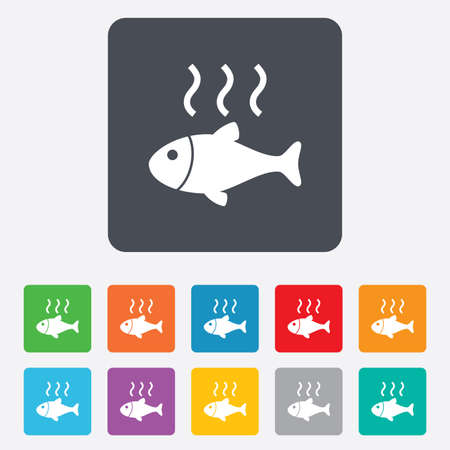 Fish hot sign icon. Cook or fry fish symbol. Rounded squares 11 buttons. Vector