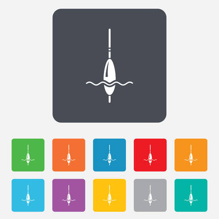 bobber: Fishing sign icon. Float bobber symbol. Fishing tackle. Rounded squares 11 buttons. Vector