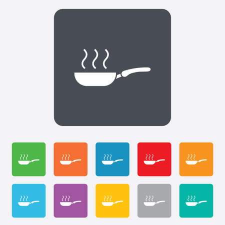 Frying pan sign icon. Fry or roast food symbol. Rounded squares 11 buttons. Vector Vector
