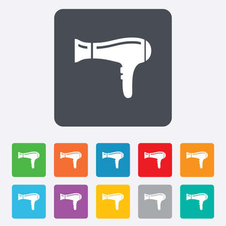blow drying: Hairdryer sign icon. Hair drying symbol. Rounded squares 11 buttons. Vector