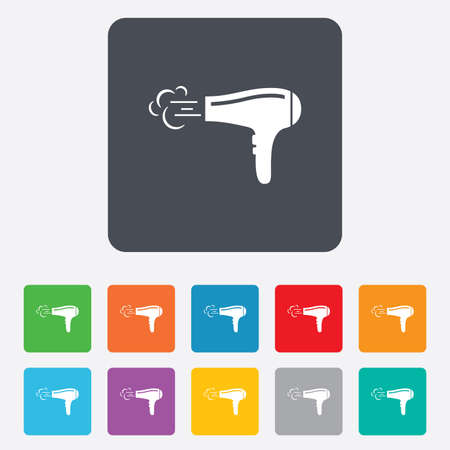 Hairdryer sign icon. Hair drying symbol. Blowing hot air. Turn on. Rounded squares 11 buttons. Vector