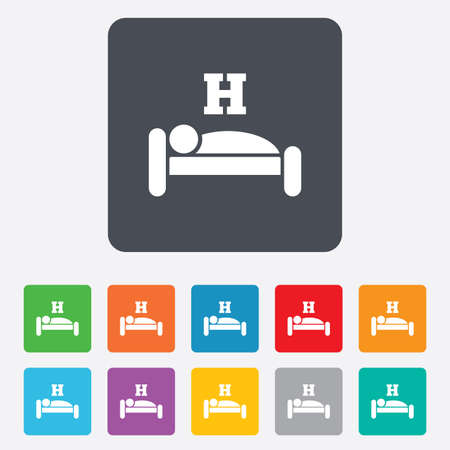 Hotel apartment sign icon. Travel rest place. Sleeper symbol. Rounded squares 11 buttons. Vector Vector