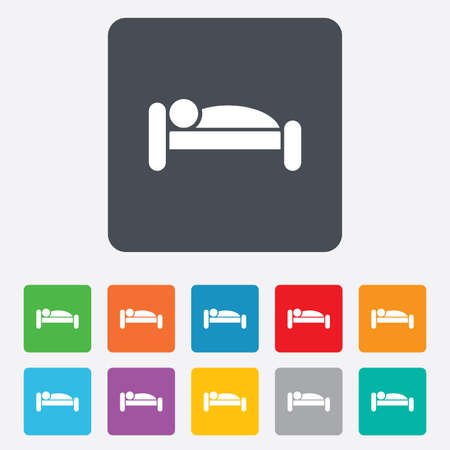 Human in bed sign icon. Travel rest place. Sleeper symbol. Rounded squares 11 buttons. Vector Vector