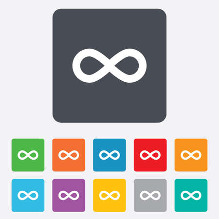 eternally: Limitless sign icon. Infinity symbol. Rounded squares 11 buttons. Vector