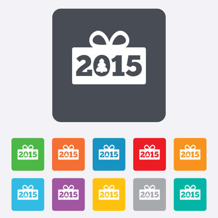 Happy new year 2015 sign icon. Christmas gift anf tree. Rounded squares 11 buttons. Vector Vector