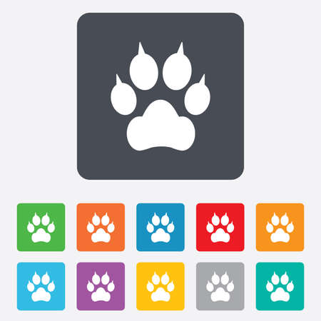 clutches: Dog paw with clutches sign icon. Pets symbol. Rounded squares 11 buttons. Vector