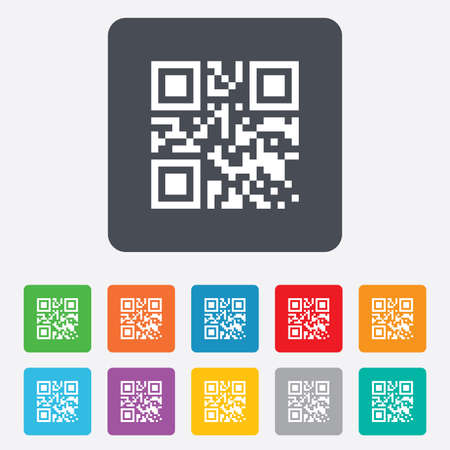 Qr code sign icon. Scan code symbol. Coded word - success! Rounded squares 11 buttons. Vector Vector