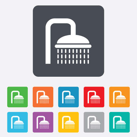 douche: Shower sign icon. Douche with water drops symbol. Rounded squares 11 buttons. Vector Illustration
