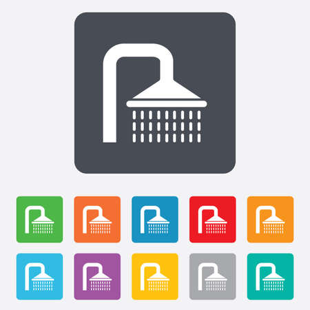 washstand: Shower sign icon. Douche with water drops symbol. Rounded squares 11 buttons. Vector Illustration