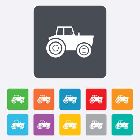 tractor sign: Tractor sign icon. Agricultural industry symbol. Rounded squares 11 buttons. Vector
