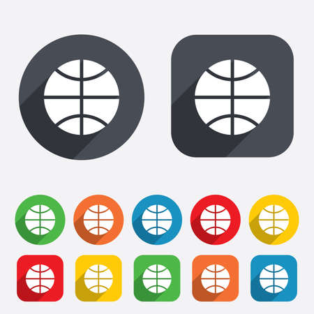 dribbling: Basketball sign icon. Sport symbol. Circles and rounded squares 12 buttons.
