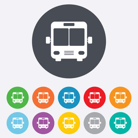 Bus sign icon. Public transport symbol. Round colourful 11 buttons. photo