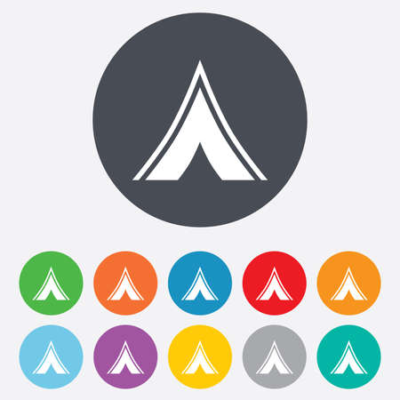 Tourist tent sign icon. Camping symbol. Round colourful 11 buttons. photo