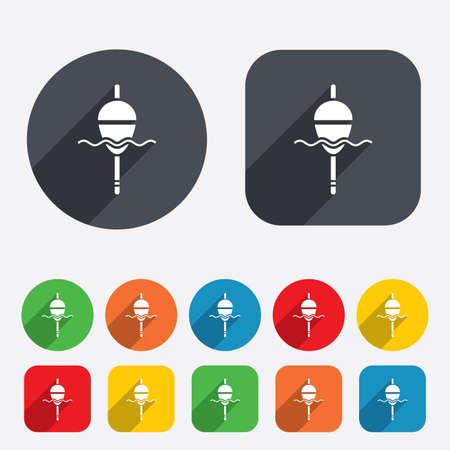 bobber: Fishing sign icon. Float bobber symbol. Fishing tackle. Circles and rounded squares 12 buttons. Stock Photo