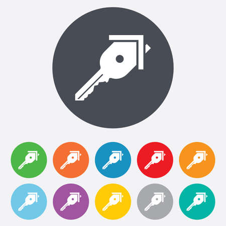 Key from the house sign icon. Unlock tool symbol. Round colourful 11 buttons. photo