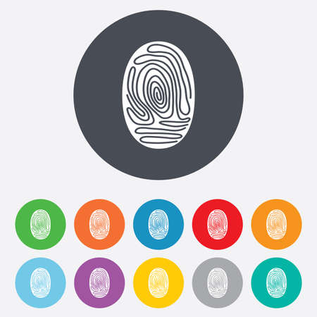 authentication: Fingerprint sign icon. Identification or authentication symbol. Round colourful 11 buttons.