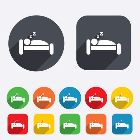 Hotel apartment sign icon. Travel rest place. Sleeper symbol. Circles and rounded squares 12 buttons. photo