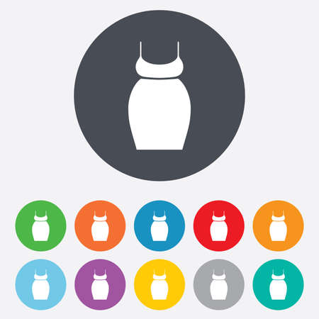 Pregnant woman dress sign icon. Maternity clothing symbol Round colourful 11 buttons. photo