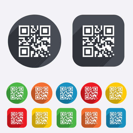 coded: Qr code sign icon. Scan code symbol. Coded word - success! Circles and rounded squares 12 buttons.