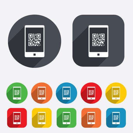 coded: Qr code sign icon. Scan code in smartphone symbol. Coded word - success! Circles and rounded squares 12 buttons.