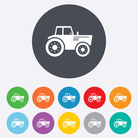 tractor sign: Tractor sign icon. Agricultural industry symbol. Round colourful 11 buttons.