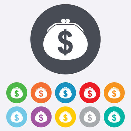 Wallet dollar sign icon. Cash bag symbol. Round colourful 11 buttons. photo