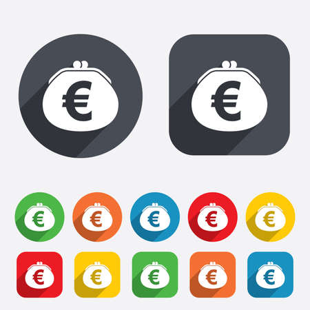 Wallet euro sign icon. Cash bag symbol. Circles and rounded squares 12 buttons. photo