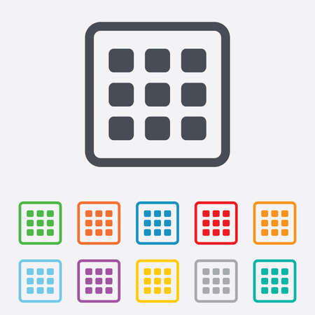 thumbnails: Thumbnails grid sign icon. Gallery view option symbol. Round squares buttons with frame.