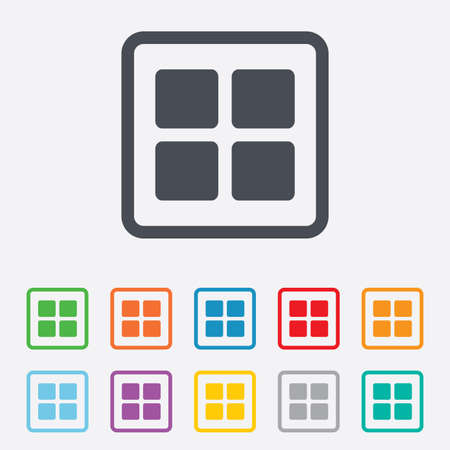 thumbnails: Thumbnails sign icon. Gallery view option symbol. Round squares buttons with frame.