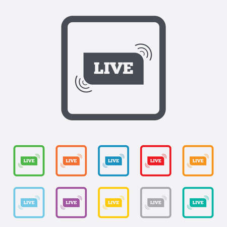 live stream radio: Live sign icon. On air stream symbol. Round squares buttons with frame. Stock Photo