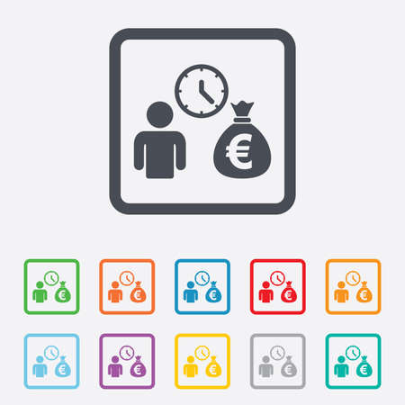 fast money: Bank loans sign icon. Get money fast symbol. Borrow money. Round squares buttons with frame.