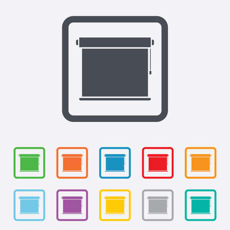 roll curtains: Louvers rolls sign icon. Window blinds or jalousie symbol. Round squares buttons with frame. Stock Photo