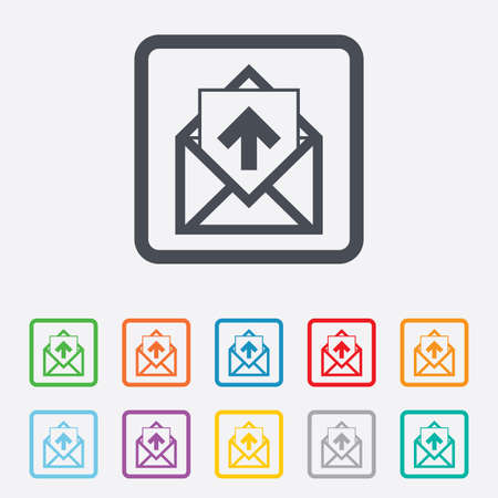 outgoing: Mail icon. Envelope symbol. Outgoing message sign. Mail navigation button. Round squares buttons with frame.