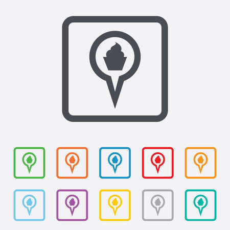 Map pointer food sign icon. Restaurant location marker symbol. Round squares buttons with frame. photo