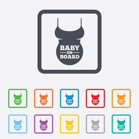 Pregnant woman shirt sign icon. Baby on board. Maternity symbol Round squares buttons with frame. photo