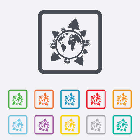 Happy new year earth sign icon. Gifts and trees symbol. Full rotation 360. Round squares buttons with frame. photo