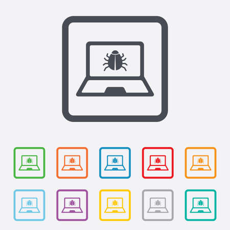 Laptop virus sign icon. Notebook software bug symbol. Round squares buttons with frame. photo