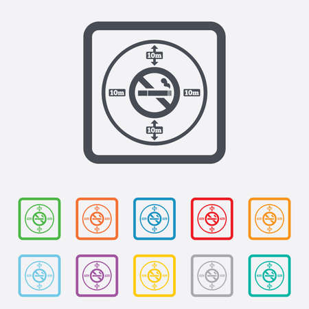 No smoking 10m distance sign icon. Stop smoking symbol. Round squares buttons with frame. photo