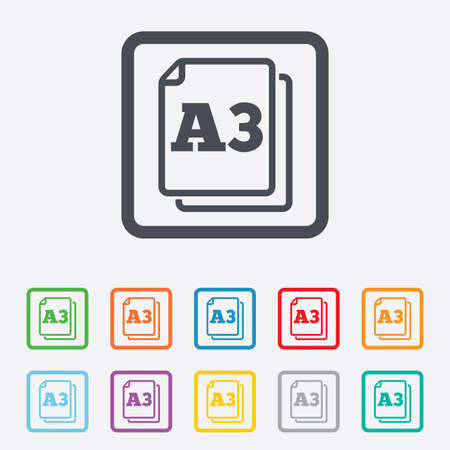 Paper size A3 standard icon. File document symbol. Round squares buttons with frame. photo