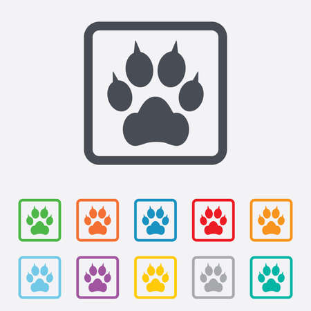 clutches: Dog paw with clutches sign icon. Pets symbol. Round squares buttons with frame.