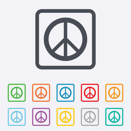 Peace sign icon. Hope symbol. Antiwar sign. Round squares buttons with frame. photo