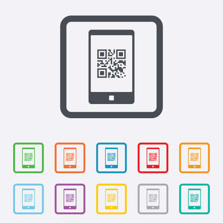 coded: Qr code sign icon. Scan code in smartphone symbol. Coded word - success! Round squares buttons with frame.