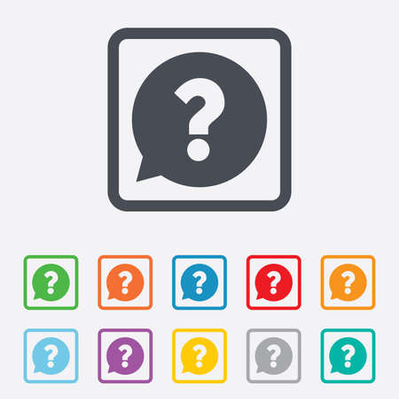 Question mark sign icon. Help speech bubble symbol. FAQ sign. Round squares buttons with frame. photo